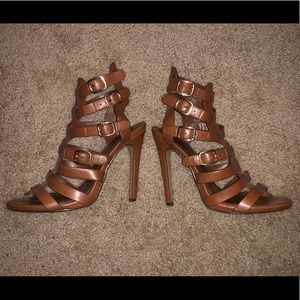 Shoes - Brown Strappy Heels